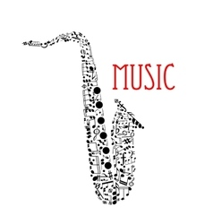 Saxophone with musical notes for music design vector image vector image