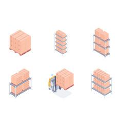 set of warehouse units vector image