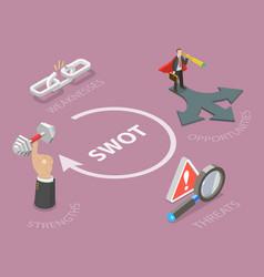 swot flat isometric concept vector image