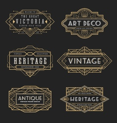 Vintage line frame design for labels vector image