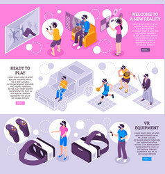 virtual reality isometric banners vector image