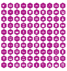 100 private property icons hexagon violet vector image vector image