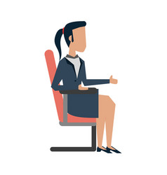 business woman on office chair vector image vector image