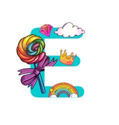 cute magic letter e vector image