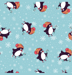 merry christmas seamless pattern with penguinsin vector image vector image