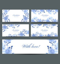 monochrome collection of greeting cards with blue vector image