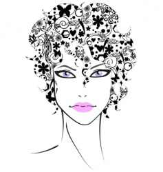 beautiful girl with flower hair vector image