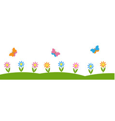 horizontal background with flowers and butterflies vector image vector image