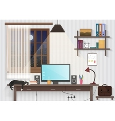 Modern teenager guy room with workplace Male man vector image