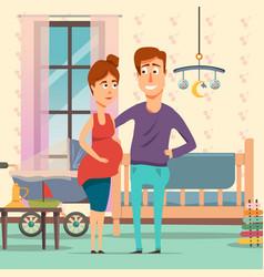 pregnancy cartoon composition vector image