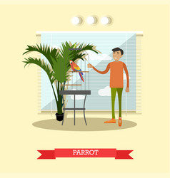buying a parrot in flat style vector image vector image