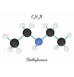 Diethylamine C4H11N molecule vector image vector image