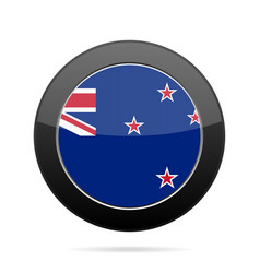 flag of new zealand shiny black round button vector image