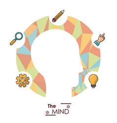 mind head silhouette idea creativity work vector image vector image
