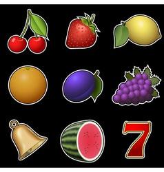 Slot machine fruit symbols vector image