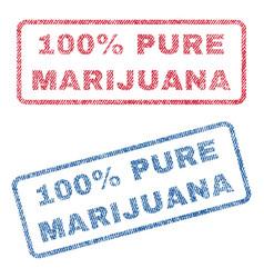 100 percent pure marijuana textile stamps vector image