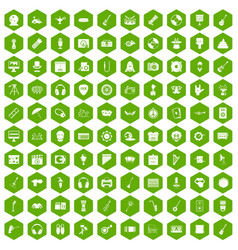 100 show business icons hexagon green vector