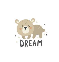 a cute sleeping bear vector image