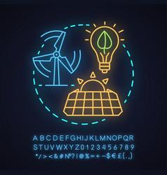 Alternative energy neon light concept icon vector