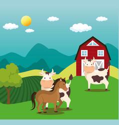 Animals in the farm scene vector