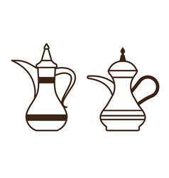 arabic coffee pot and turkish kettle icons vector image