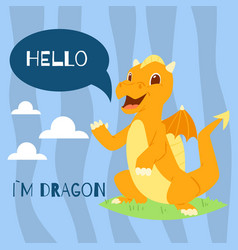 Baby dragon with text hello banner vector