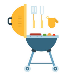 bbq grill with fork spatula and mitten icon flat vector image