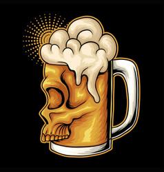 Beer glass skull face vector
