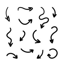 black hand drawn doodle arrows set vector image