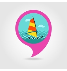 Board Windsurfing pin map icon Summer Vacation vector image