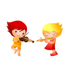 Boy and Girl playing musical instrument vector image