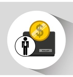 Business man wallet money icon graphic vector