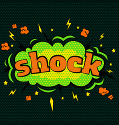 Cartoon comic shock bubbles labels with text and vector