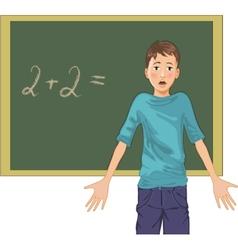 Cartoon image of a perplexed boy at blackboard in vector