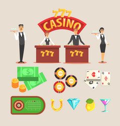 Casino gambling symbols set vector