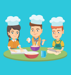 caucasian boys and girl in chef hats cook cookies vector image