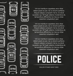 Chalkboard police poster with cars design vector