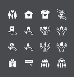 Charity and donation silhouette icons vector