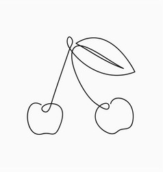 cherry - one line drawing continuous line fruit vector image