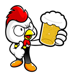 Chicken character drinks the best beer isolated vector