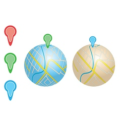 City maps with river and pointers on globes vector