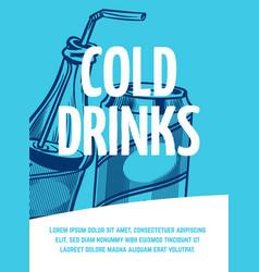 cold drink flyer jar and bottle vector image