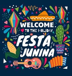 colourful poster design for festa junina vector image