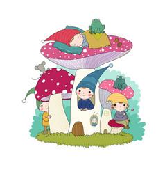 cute cartoon gnomes mushroom house and frog vector image
