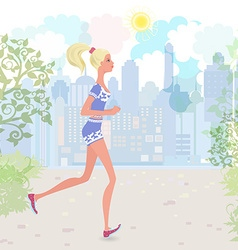 Cute girl jogging in the park vector image