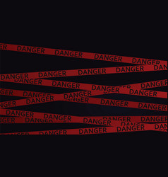 danger tape in dark background vector image