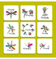 Dragonfly collection sketch for your design vector image