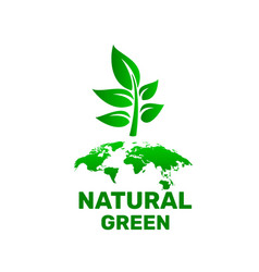 ecology organic green planet earth sign on a vector image