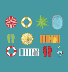 Family beach vacation accessories isolated set vector
