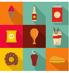 fat fast food icons set flat style vector image